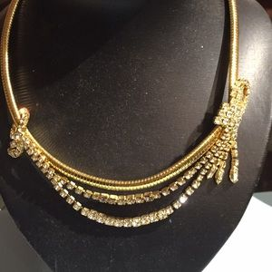 Gold colored rhinestone necklace